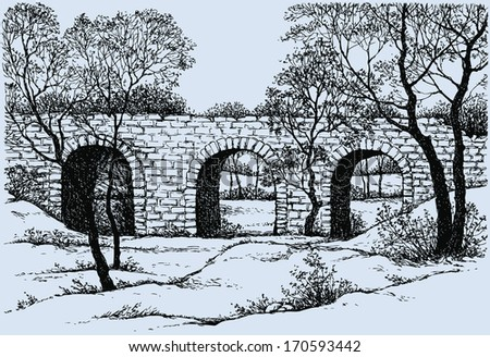Vector landscape. Sketch of an old dilapidated stone bridge in the park - stock vector