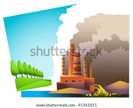 Vector landscape split into two areas: ecologically clean one, and environmentally dead one - stock vector