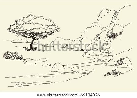 Vector landscape. Tree near a mountain stream in the meadow - stock vector