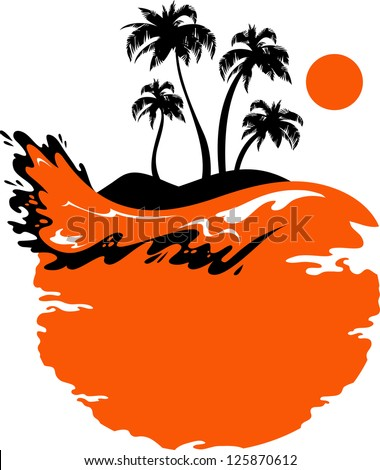 Vector Landscape: Tropical Banner - stock vector
