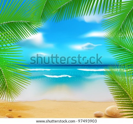 vector  landscape with a sky-blue ocean, golden sands and palm trees - stock vector