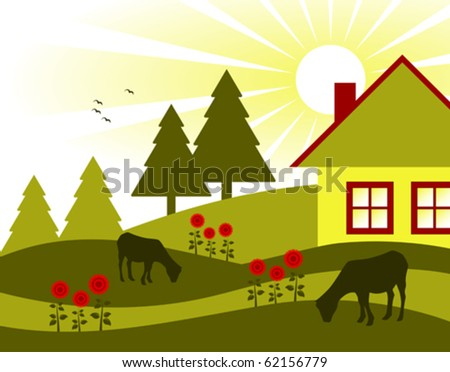 vector landscape with cottage, flowers and grazing goats - stock vector