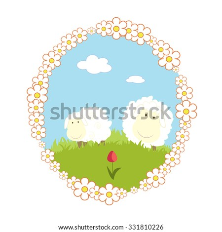 Vector landscape with grass tulip and cartoon sheep - stock vector