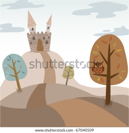 Vector landscape with medieval castle, trees, road and owl - stock vector