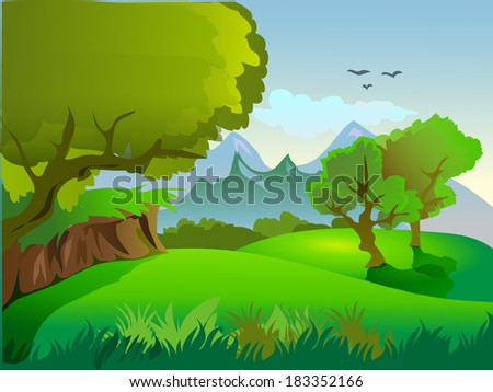 Vector landscape with mountain in background and a lake in foreground
