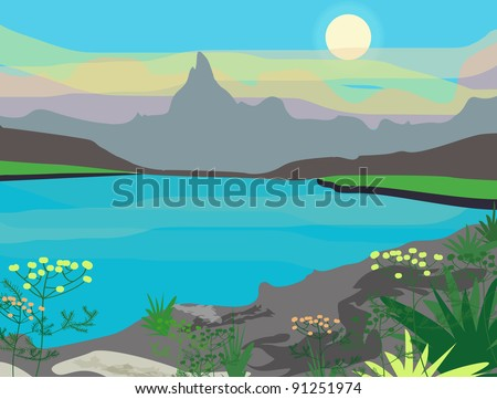 Vector landscape with mountains - stock vector