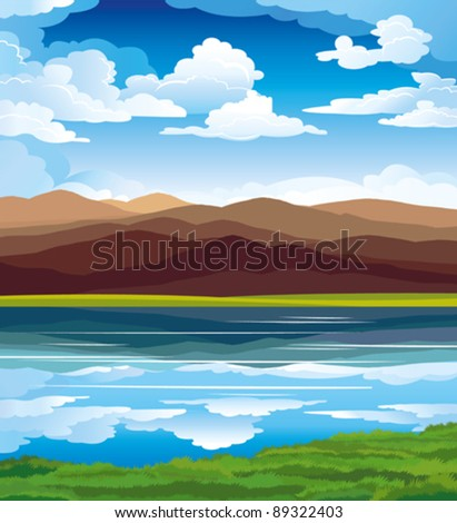 Vector landscape with mountains, green grass and blue lake on a sky background - stock vector