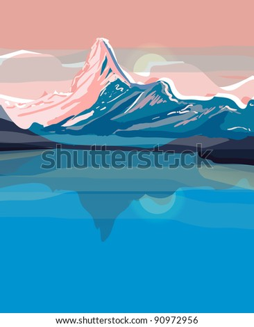 Vector landscapes with mountains - stock vector