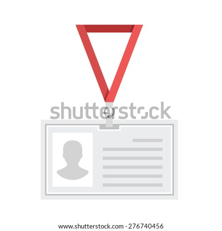 Vector lanyard badge template. Creative flat design. Original plastic badge with red strap. Vector illustration. Isolated in white background. - stock vector