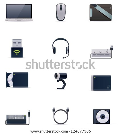 Vector laptop accessories icon set - stock vector