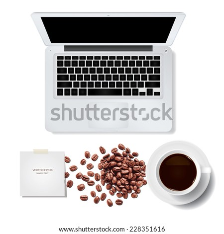 Vector laptop computer with coffee cup and coffee beans on white background. - stock vector