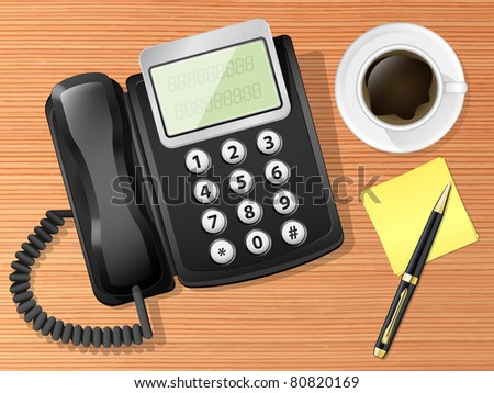 Vector laptop on the desk with coffee cup and pen. Top view - stock vector