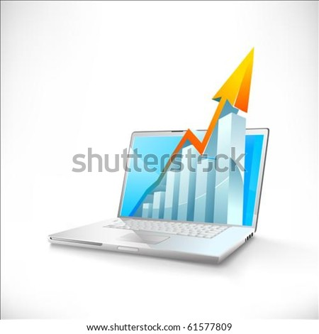 vector laptop with business or profits growth bar graph - stock vector