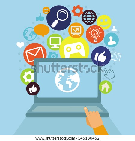 Vector laptop with social media icons - internet concept in flat retro style - stock vector