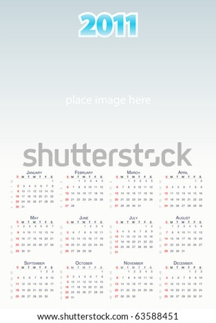 Vector Large calendar grid 2011 year, english layout  with week numbers - stock vector