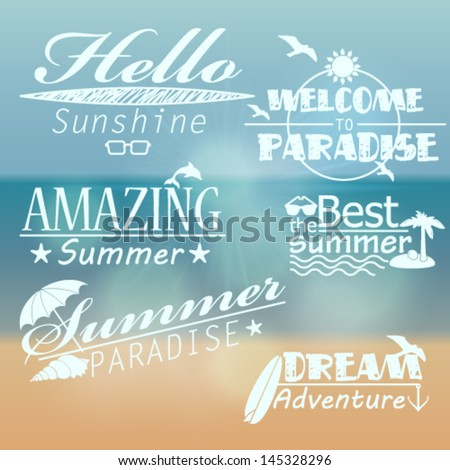 Vector large collection of retro summer text illustrations - stock vector