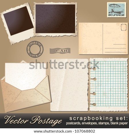 Vector large scrapbooking set of old, vintage postage design elements - postcards, photos, stamps, envelopes, papers