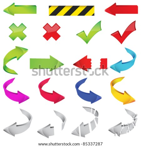 Vector large set of different arrows illustration - stock vector