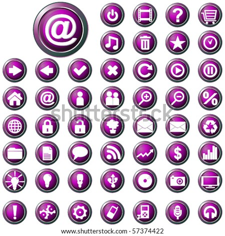 Vector large set of glossy purple web buttons - stock vector