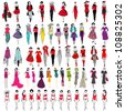 Vector large set of hand drawn style elegant shopping and fashion girls - stock