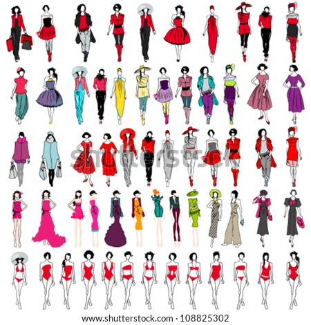 Vector large set of hand drawn style elegant shopping and fashion girls - stock vector