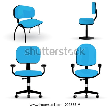 Vector large set of very detailed, office chair illustrations - stock vector