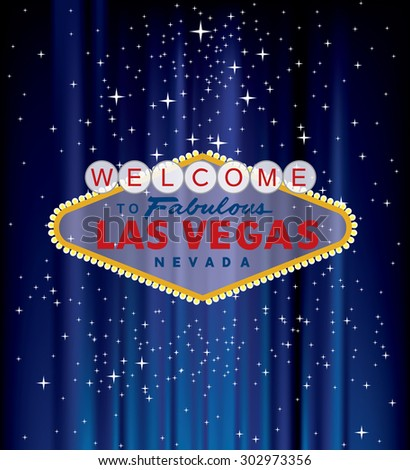 vector Las Vegas sign on blue velvet with stars - stock vector