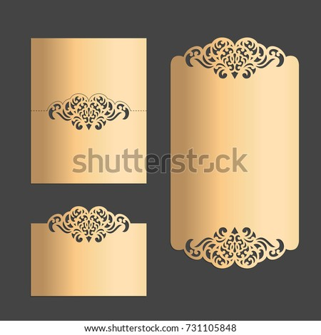 Vector Laser Cut Wedding Menu Place Stock Vector - Menu place cards template