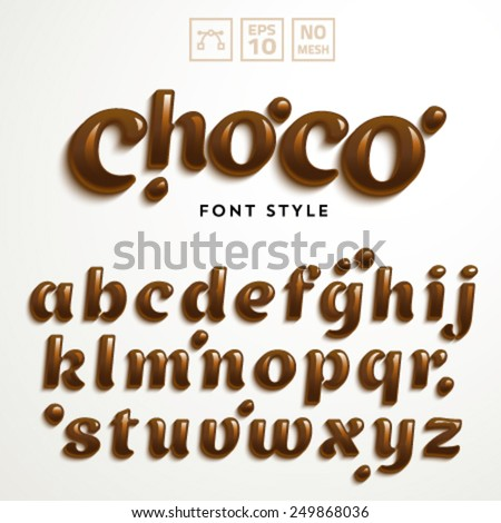 Vector latin alphabet made of chocolate. Font style. - stock vector
