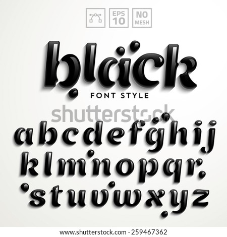 Vector latin alphabet made of rock-oil. Font style. - stock vector