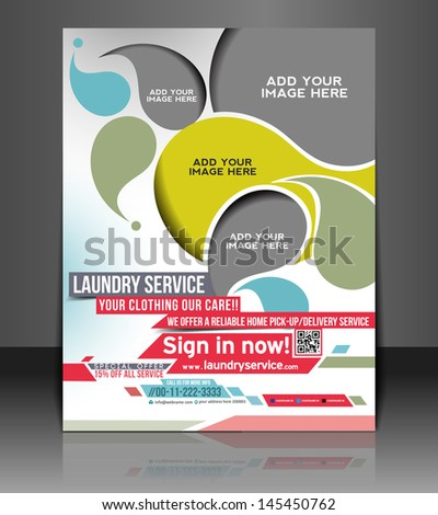Vector Laundry Service Flyer Magazine Cover & Poster Template. - stock vector