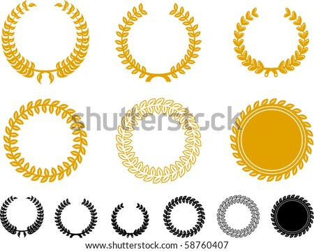 Vector Laurel Wreath Set - stock vector