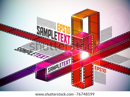 Vector Layout Design with Multicolor Film Stripes - stock vector