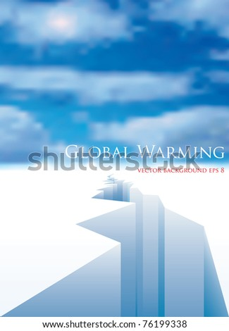 vector layout for global warming with melting ice - stock vector