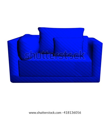 Vector leather blue Sofa with pillows isolated on white background. 3d object armchair in room  - stock vector