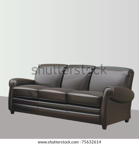 vector leather three seat couch - stock vector