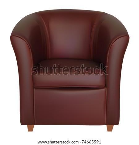 vector leather tub chair - stock vector