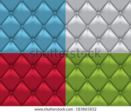 Vector Leather Vintage Upholstery Seamless Background Set - stock vector