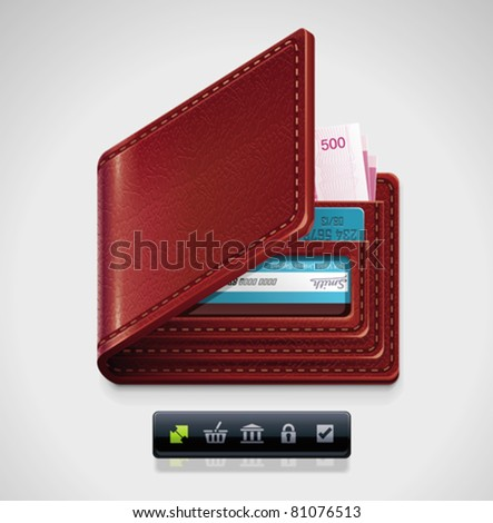 Vector leather wallet with money and credit cards icon