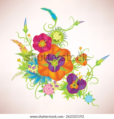 Vector leaves and flowers composition - stock vector