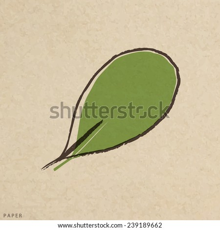 Vector leaves green grunge paper texture, distressed background - stock vector