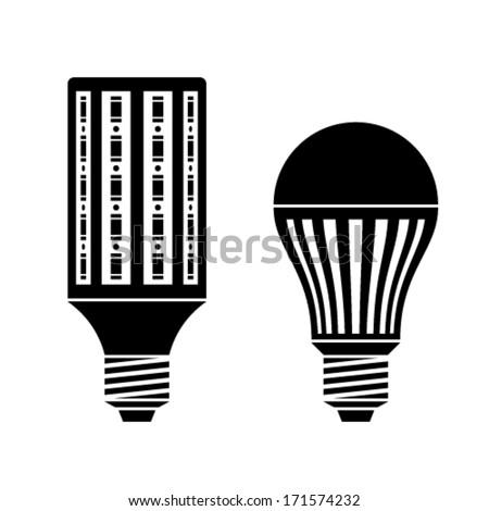 vector LED energy saving lamp bulb symbols - stock vector