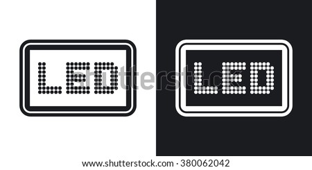 Vector LED screen icon. Two-tone version on black and white background - stock vector