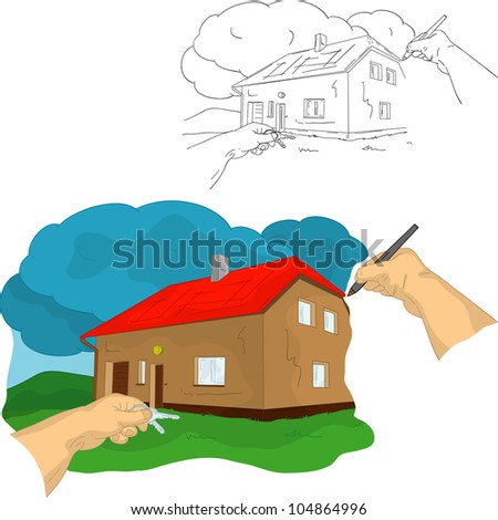 vector - left hand holding keys and right hand drawing house, isolated on background
