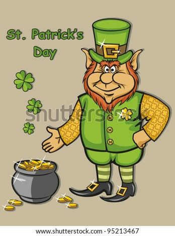 Vector leprechaun with pot of gold