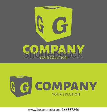 Vector letter G logo. Grey and green versions of the logo G. - stock vector