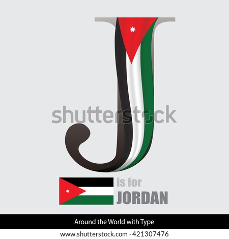Vector Letter J is for Jordan flag. Design Matches Letters Of The Alphabet With Name list of country worldwide - stock vector