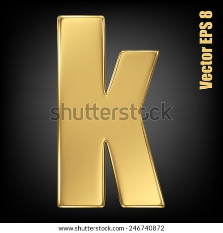 Vector letter k from gold solid alphabet. Lowercase golden font collection. EPS 8 - stock vector