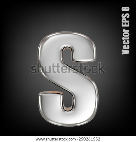Vector letter s from metal alphabet. Lovercase metal font collection. EPS 8 - stock vector