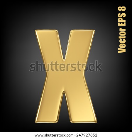 Vector letter x from gold solid alphabet. Lowercase golden font collection. EPS 8 - stock vector